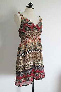 FOREVER 21 Fall Color India Boho Retro Hippie Lightweight Lined Dress- Small