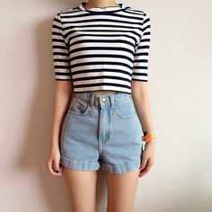 Stripy top and shorts