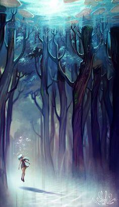 Los colores fríos utilizados no presentan mucha saturación lo que le da un aire de inocencia. La perspectiva ayuda a saber en qué clase de lugar nos encontramos y la luz en la parte de arriba ayuda a guiar el ojo, también la fluidez de los árboles ayudan. La pose del peronsaje nos da una idea de la magia que puede poseer el lugar.