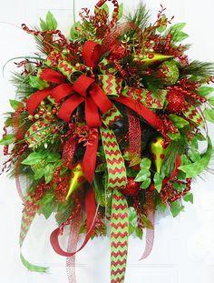CHRISTMAS DOOR WREATH Christmas Chevron by LadybugWreaths