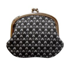 Coin purse in space invader gingham on black. $22.00, via Etsy.
