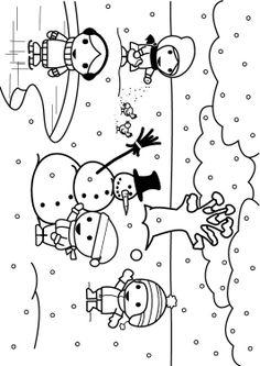 Preschool colouring sheet winter, winter kleurplaat