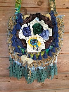 handmade romantic tapestry fabric bag gypsy Bohemian lace tassels rhinestones   | eBay