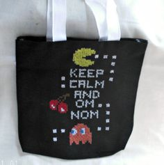PacMan Cross Stitch Tote Bag Gift Bag by SnarkyLittleStitcher, $17.00