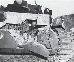 The effect of large-caliber artillery projectiles could be very dramatic as seen in this Pz.Kpfw. IV with its lower bow blasted open .
