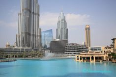 #burjkhalifa #fountain #lake #blue Burj Khalifa, Fountain, Building, Instagram Posts, Blue, Travel, Viajes, Buildings, Water Fountains