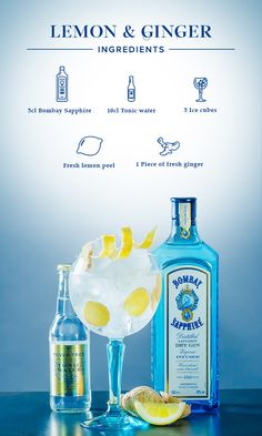 Lemon & Ginger:  1. Gently squeeze lemon peel over your glass to release its essential oils.  2. Slice the ginger and add it to your drink along the lemon peel.  3. Fill glass with ice cubes, add 5cl Bombay Sapphire and top off with tonic water.  #BombaySapphire #UltimateGinTonic Cocktail Shots, Wine Cocktails, Bar Drinks, Alcoholic Drinks, Beverages, Yummy Drinks, Gin And Tonic, Tonic Water, Gin Bar