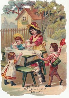 Oblaten Glanzbild  scrap die cut chromo / Kinder  - Mutter im Garten