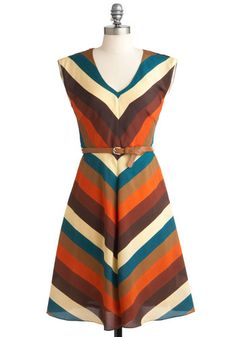 Know Every Angle Dress by Louche - Long, Stripes, Belted, Work, Casual, Vintage Inspired, 60s, 70s, Sleeveless, International Designer, Chevron, Variation #cutedress #falloutfitideas