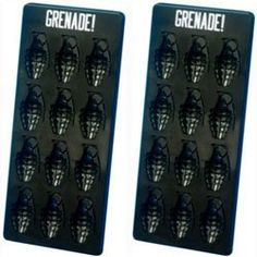 Throw an ice cold bomb in your drink with this awesome Grenade Ice Cube Tray. You get two trays that make twelve grenade shaped ice cubes each. Best Ice Cube Trays, Ice Tray, Free Bingo Cards, Soap Molds, Jello Molds, Ice Molds, Silicone Molds, Military Party, Ice Ice Baby