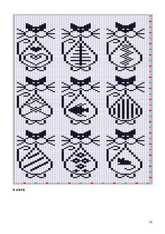 x stitch cats Knitting Charts, Knitting Stitches, Knitting Patterns, Loom Patterns, Chat Crochet, Crochet Chart, Filet Crochet, Cross Stitching, Cross Stitch Embroidery