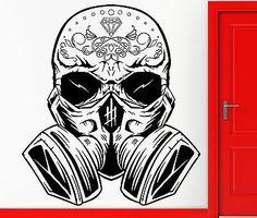 Wall Sticker Vinyl Decal Hippien Skull In Gas Mask Scary Cool Teen (z2402)