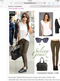 Dress by Number  Selena Gomezs White Tank and Olive Skinnies - The Budget  Babe 476252bfa