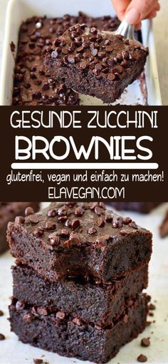 Vegan zucchini brownies that are soft, juicy and very chocolatey! The recipe is vegetable, gluten-free, simple and delicious! Enjoy this vegan chocolate cake with your family and friends. Children will also love this healthy chocolate dessert. Healthy Chocolate Desserts, Healthy Dessert Recipes, Health Desserts, Vegan Chocolate, Healthy Baking, Easy Desserts, Chocolate Cake, Making Chocolate, Melted Chocolate