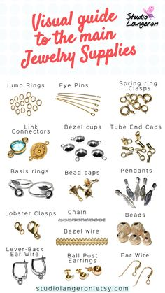 Visual guide to the main Jewelry Supplies by StudioLangeron / Solid Gold Filled Gold and 925 Sterling Silver jewelry supply for making pendants necklaces bracelets and earrings. New best quality supplies for jewelry making shop now in our store supplies Diy Jewelry Unique, Diy Jewelry To Sell, Jewelry Making Tutorials, Jewelry Making Supplies, Diy Jewelry 101, Making Jewelry For Beginners, Cheap Jewelry, Jewelry Making Beads, Jewelry Crafts