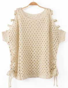 Sweet Bat Sleeve Hollow-Out Detail Sweater with Cut Out Shoulder