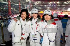 Daisuke Takahashi, Shizuka Arakawa and Miki Ando of Japan figure skating team attend the Closing Ceremony of the Turin 2006 Winter Olympic Games on February 26, 2006 at the Olympic Stadium in Turin, Italy.