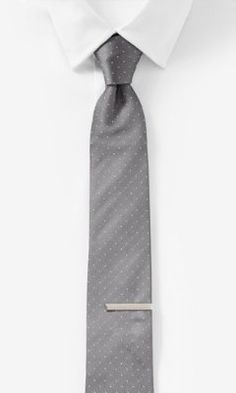 NARROW SILK BLEND TIE AND BAR SET - PINDOT from EXPRESS