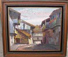 Vintage 1970's Painting, Jose Valera Painting, Spanish Painting, Street Scene,Lg #Impressionism