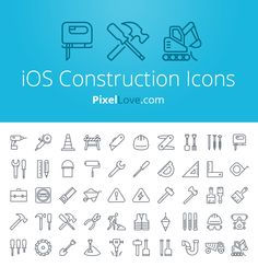 iOS 7 & iOS 8 construction icons for tab bars & tool bars. Icons include: hammer, drill, saw, wheel barrow, digger, toolbox, dust mask & paint brush as well as many others...thousands more icons at pixellove.com