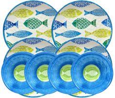 Cynthia Rowley 8 Piece Fish Melamine Dinner Plates and Bowls Indoor Outdoor #CynthiaRowley