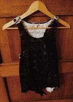 czarna koszulka koronkowa