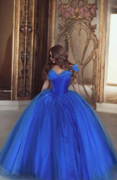 Princess Quinceanera Dresses Off the Shoulder Royal Blue Organza Ball Gown Prom Dresses Sweet 16 Dresses,MB 82