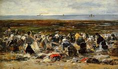 Laundresses on the beach, Low tide - Eugene Boudin  ..Completion Date: c.1893