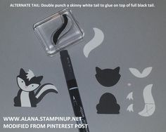 Skunk Punch Art. Using Foxy Friends Stamp Set & Foxy Builder Punch.  Alternate Tail: double-punch a white stripe tail to glue on top of a full black tail.