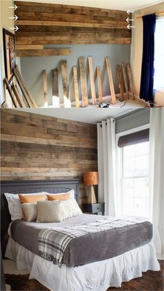 Shiplap Wall and Pallet Wall: 30 Beautiful DIY Wood Wall Ideas 30 best DIY shiplap wall and pallet wall tutorials and beautiful ideas for every room. Plus alternative methods to get the wood wall look easily! A Piece of Rainbow Diy Pallet Wall, Diy Wood Wall, Pallet Walls, Pallet Wall Bedroom, Pallet Accent Wall, Pallet Ideas For Walls, Pallet Projects, Faux Wood Wall, Pallet Room
