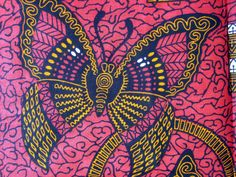 Orange butterflies African wax print fabric BY THE by ChilliPeppa, £5.20