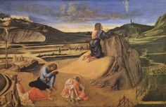 Giovanni Bellini.  Christus am Ölberg. Um 1465-1470, Holz, 81 × 127 cm. London, National Gallery. Italien. Renaissance.  KO 02398