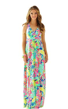 SEAVIEW MAXI DRESS - MULTI CASA BANANA from Lilly Pulitzer available online from Ocean Palm