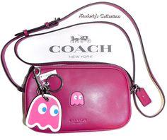 COACH X PAC MAN PINKY LIMITED ED CROSSBODY POUCH BAG & KEYCHAIN CHARM SET NWT! #Coach #MessengerCrossBodyShoulderBag