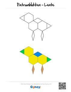 Deze patronen passen in het thema Lente. Elk patroon is beschikbaar met of zonder kleur, zodat je zelf de moeilijkheidsgraad kunt kiezen. Math Worksheets, Pattern Blocks, Lesson Plans, How To Plan, Logos, Mathematical Practices, World Discovery, Dimensional Shapes, Spring
