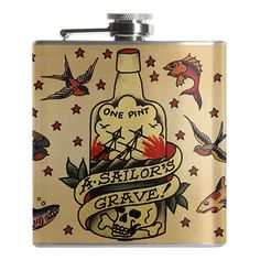 Sailor Jerry was no stranger to the drink and you shouldn't be either, sailor! This 6 ounce flask features a screw down cap and full stainless steel construction with laser welded edges and full outdo