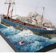 """The lost Ship""  North Sea Fishing Trawler (Revell 1/142) ... #Diorama #Miniature #Model #ScaleModel #Vignettes"