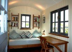 Classic Southdown shepherds hut home office studio. United Kingdom. http://southdownshepherdshuts.co.uk/?upid=5