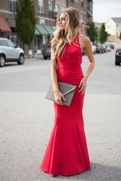 Red mermaid maxi dress #swoonboutique