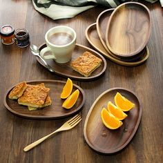 Black walnut oval plate hold fruit and bread
