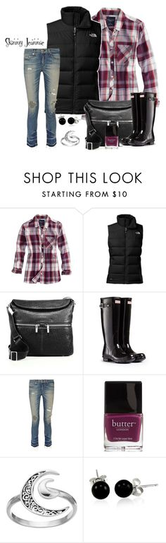 """""""Untitled #2025"""" by skinny-jeannie ❤ liked on Polyvore featuring American Eagle Outfitters, The North Face, Elizabeth and James, Hunter, rag & bone, Butter London, Primrose and Bling Jewelry"""
