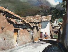 Walking on the Street, Watercolor by Oscar Cuadros