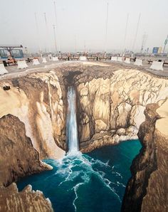 sidewalk chalk art 'a water fall'
