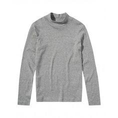 T-shirt maniche lunghe, in cotone colorato, collo alto con finitura a costina.3AY1C2454 GREY