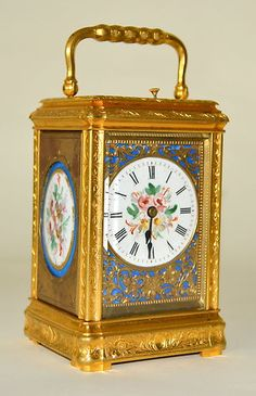 Antique French Repeater Carriage Clock with Hand Painted Porcelains On The Sides - Paris  c.1880