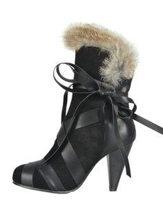 Black Strap Tie Heeled Boots with Fur Trim   Choies