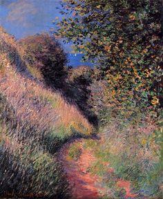 Another brilliant masterpiece by Monet! Path at Pourville - Claude Monet Claude Monet, Post Impressionism, Impressionist Paintings, Gustav Klimt, Monet Paintings, Landscape Paintings, Abstract Paintings, Painting Art, Artist Monet