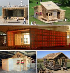 House made from old pallets -  great project for hunting camp or just a little place to retreat to.
