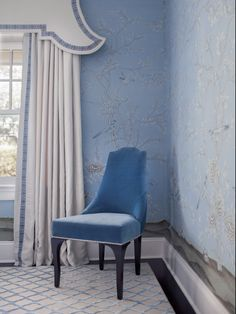 Beautiful blues with white curtains in this De Gournay wallpapered dining room