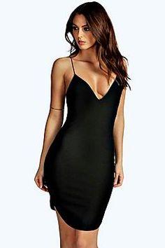 9ffd0c70f58 Christel Curved Hem Strappy Bodycon Dress T Shirt Midi Dress